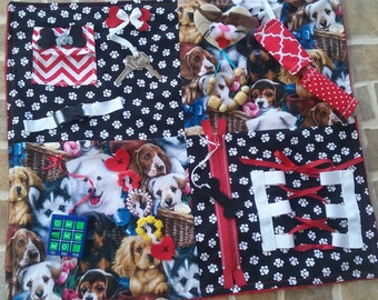 Fidget Blanket, Activity Blanket, Alzheimers, Dementia, Autism, Special Needs, ADHD, ADD, Therapy, Brain Trauma, Busy Hands, Restless Hands