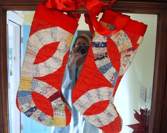 Christmas Stockings Antique Patchwork Quilted Handmade