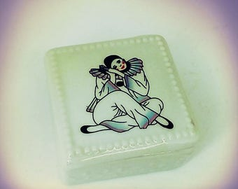Pierrot the clown porcelain box