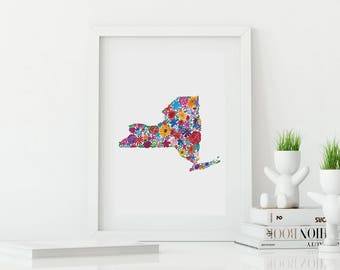 NEW YORK Floral Watercolor Print Digital Download