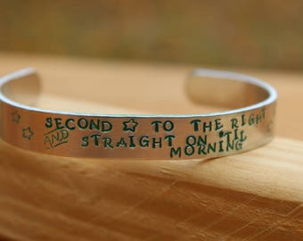 Peter Pan Metal Stamped Quote Cuff Bracelet - Second Star to the right and straight on 'til morning - JM Barre, literary jewelry