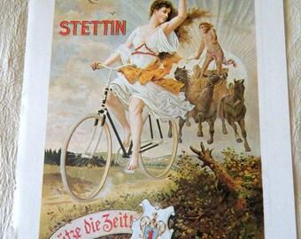 Vintage Bicycle Poster 1900s Stoewers Greif Bicycles Hurtu Biicycles  Plate