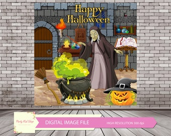 Witch Backdrop, Halloween Backdrop, Halloween Witch, Witch Party, Halloween Backdrops, Witch Photo Booth, Witch Party Decor *DIGITAL FILE*