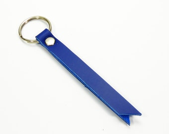 "Leather Key Fob, Leather Keyring, Leather Keychain, Leather Key Holder - 3"" Key chain wrist strap in Blue Leather"