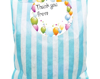 Blue & white paper party bags x 24 with 60mm writable balloon stickers - 24 of each