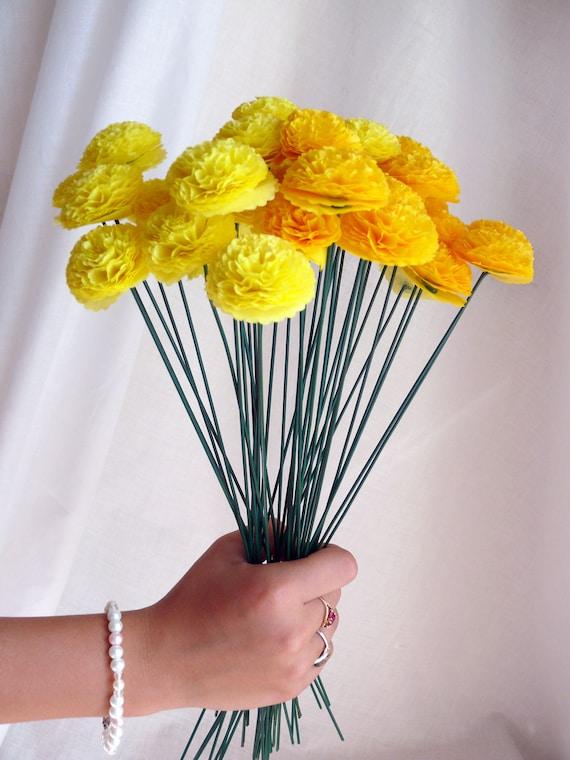 Button Mums Tissue Paper Flower Bouquet Wedding Bridal