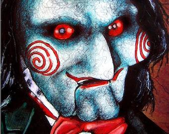 "Print 8x10"" - Billy - Saw Jigsaw Serial Killer Horror Dark Art Puppt Doll Spooky Creepy Scary Death Torture Pop Cute Gothic Ventriloquist"