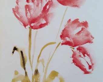 Tulips | Print of a Hand Painted Watercolor (Greeting Card)