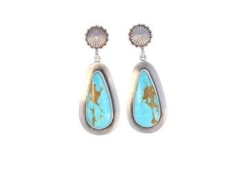 KINGMAN TURQUOISE Earrings Blue Golden Teardrops Southwest NewWorldGems