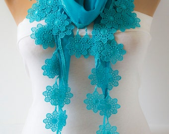 Blue Lace Scarf Blue Floral Lace Scarf  Floral Lace  Shawl Scarf Spring Scarf Summer Lace Scarf Gift forher Fashion Women Accessories DIDUCI