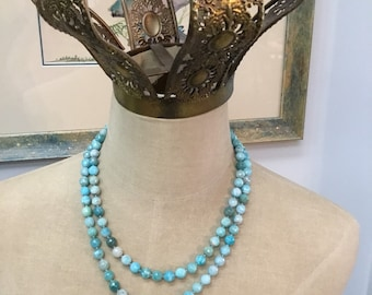 Handcrafted double strand blue green chrysoprase necklace