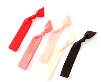 Magnolia - 5 Comfort Elastic Hair Ties / Bands / Bracelets
