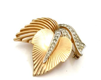 Boucher Leaf Brooch, Clear Pave Rhinestones, Textured & Polished Gold Tone, Open Metalwork, Layered Design, Signed, Vintage Gift for Her
