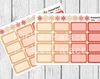 Half Box Planner Stickers Shades of Orange 4 colors Quantity of 16 stickers