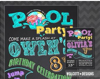 Pool party invitations - pool birthday invitations - Summer party - Pool party birthday invitation - Chalkboard invitation