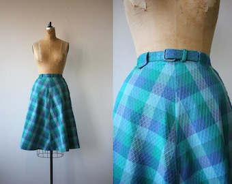 1950s vintage skirt / 50s plaid skirt / 50s blue teal plaid skirt / 50s cotton skirt / belted skirt / 50s a line skirt / 26in waist 27in med