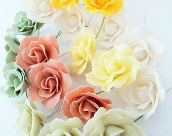 Miniature Roses Handcrafted Polymer Clay Art, assorted, 50 pieces