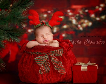 digital backdrop , background  newborn  boy or girl Christmas traditional
