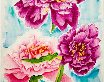 Purple Peonies Original Watercolor Painting Art Work by AliiArtColors