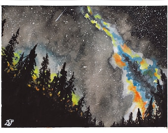 Forest Nightscape Under the Milky Way - Original Watercolor 6x8