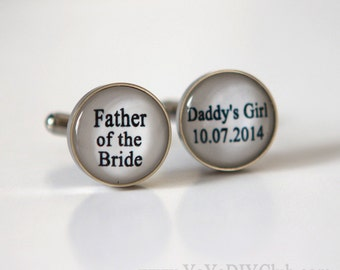 Father of the bride cufflink, Wedding Gift for Father of bride cufflinks, Wedding gift for father of the bride - Daddy's Girl Custom Color