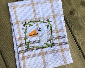 Personalized Cotton Tea Towel, Embroidered Tea Towel, Goose Towel, Kitchen Towel