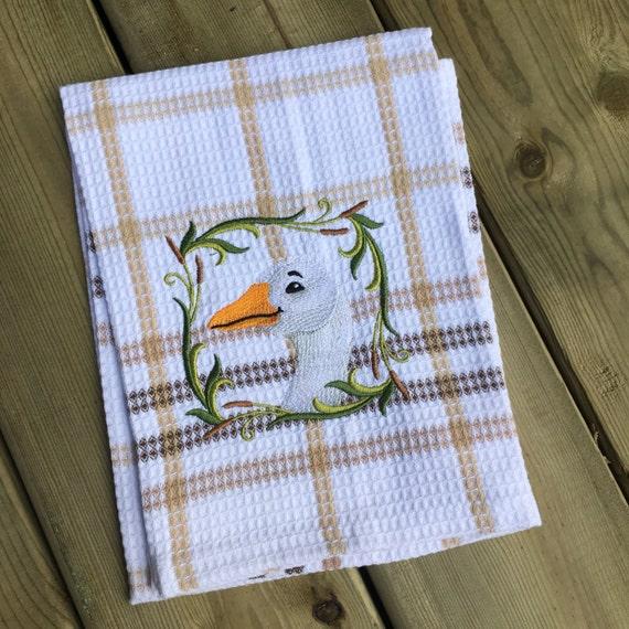 Personalized Cotton Tea Towel Embroidered Tea Towel Goose