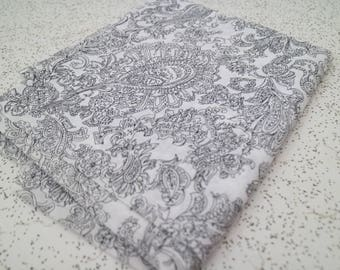 paisley floral in black and white...vintage cotton voile yardage
