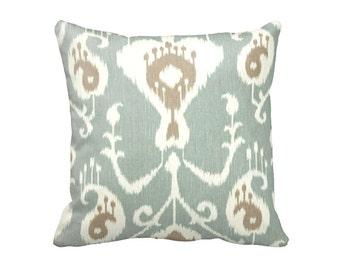 SALE | 50% OFF: 18x18 Pillow Cover Green Pillow Cover Decorative Throw Pillow Decorative Pillow Aqua Pillow Sea Foam Pillow Ikat Pillow
