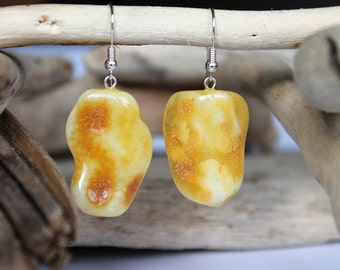 Beautiful amber earrings natural Baltic amber jewelry yellow amber earrings massive dangle earrings gemstone earrings resin jewelry amber