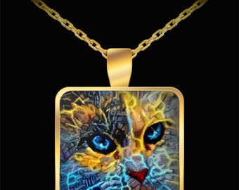 Cat Painting Necklace, Silver or Gold Pendant, Cat Lovers Necklace, Cat Mom Gift