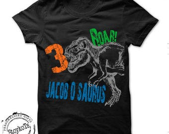 Dinosaur birthday shirt for kids personalized halloween tshirt 3rd, 2nd, 4th, 5th, 6th any birthday dino t-rex theme party shirts boys girls