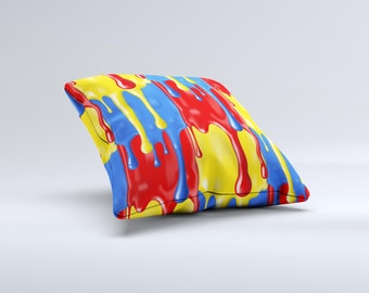 The Vector Paint Drips ink-Fuzed Decorative Throw Pillow