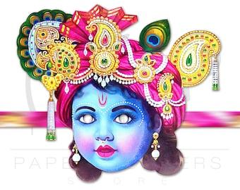 Krishna mask. Krishna dress. Indian mask. Krishna art. Indian Gods. Hare Krishna.