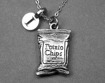 Potato chips necklace, Chips necklace, chips charm, potato chips charm, food necklace, personalized necklace, initial necklace, monogram