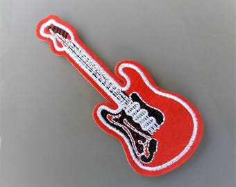 Patch 10,5 cm red thermocollant guitar