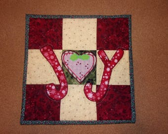 Country Kitchen Quilted Scrappy Christmas JOY Table Topper Candle Mat Snack Mat Hot Pad Trivet