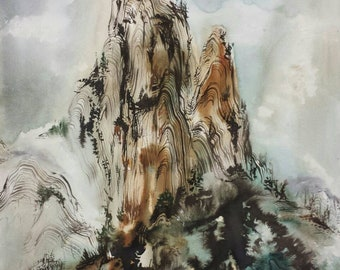 Tower of Mist Antique Scroll Japanese Landscape Original Painting in Calligraphy Ink and Watercolour Japan Chinese Asian Traditional Art