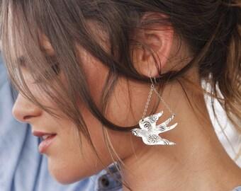 Bird Jewelry, Splittail Swallow Earrings, Split Tail Swallow Jewelry, Sterling Silver Dangle Earrings, Swallow Bird Chandalier Earrings Bird