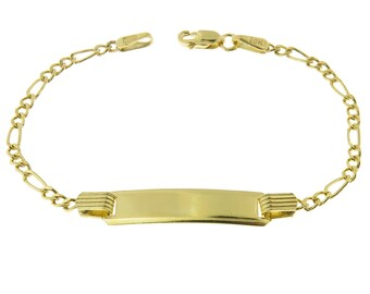 10k Gold Figaro Link Childrens ID Bracelets Personalized Name Engraving