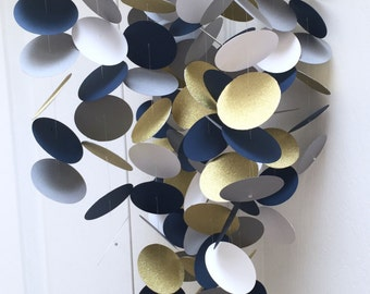 Gold, navy blue, grey and white Baby Mobile - or choose your own colors / custom mobile / monochrome baby circle dot mobile