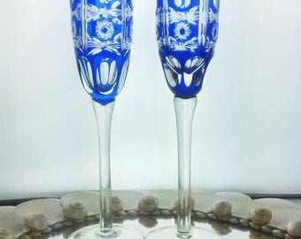 Hand Blown Cobalt Sapphire Blue Cut to Clear Crystal Wine Champagne Flute Glasses Pinwheel