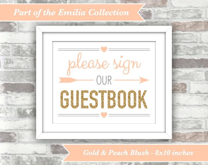 INSTANT DOWNLOAD -  Printable Wedding Guestbook Sign - 8x10 Digital Files - Gold Glitter Effect Peach Blush - Emilia Collection - Guest Book