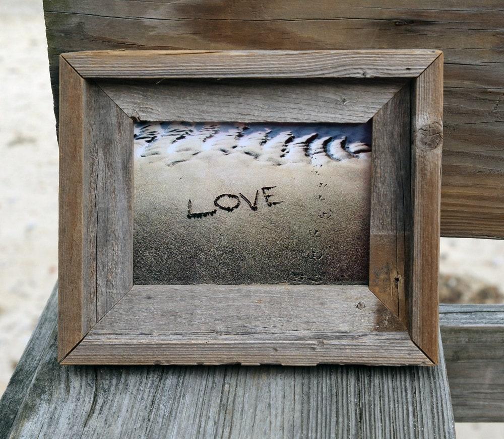 Rustic Beach Theme Wedding Love 5x7 photo romantic word