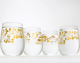Gold Maidenhair Fern Glassware - Set of 4 stemless wine glasses, gold ferns, Christmas glassware, metallic gold gifts for her, Holiday decor