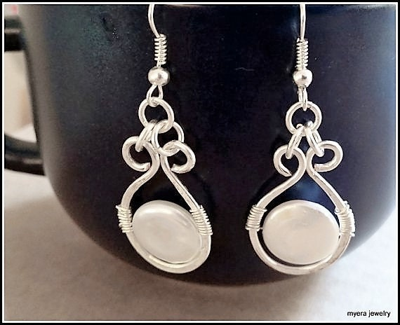 Pearl Wirewrap Earrings, Statement Earrings, Pearl Drop Earrings, Small Dangle Earrings, Classic Womens Earrings, Womens Pearl Earrings