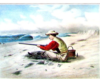 Beach Snipe Shooting - Small Currier and Ives Print - 1980 Vintage Book Page