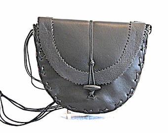 Black Leather Curvaceous Shoulder Bag or Clutch Handmade
