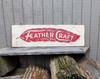 Vintage Feather Craft Boats Trade Sign