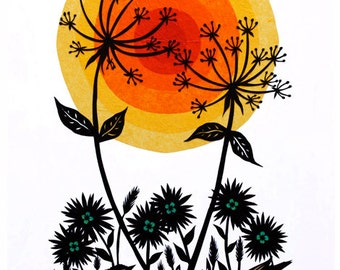 Reaching for the Sun - Cut Paper Art Print